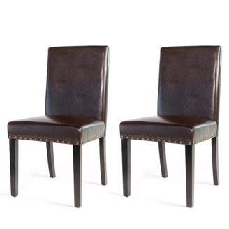 XtremepowerUS 2PC Elegant Stylish Nail Head Leather Dining Chair, Brown