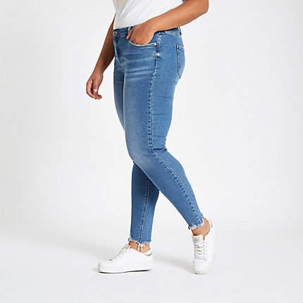 Womens Plus mid Blue Amelie mid rise skinny jeans