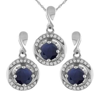 Sabrina Silver 14K White Gold Natural HQ Sapphire Earrings and Pendant Set with Diamond Accents Round 4 mm