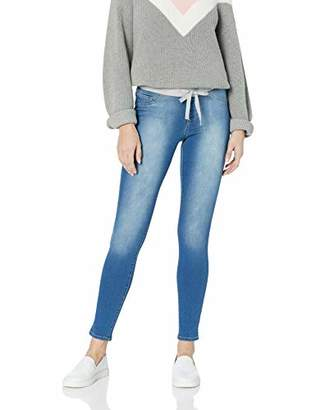 l.e.i. Junior's Plus Size Dorm Pull On Jegging with Tie Detailing in Knit Denim