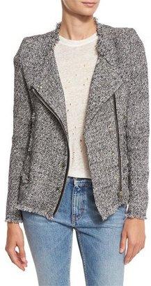 Iro Carlota Asymmetric Tweed Jacket, Black/White $698 thestylecure.com