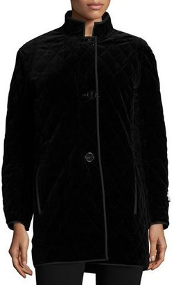 Jane Post Quilted Velvet Raincoat, Black $495 thestylecure.com