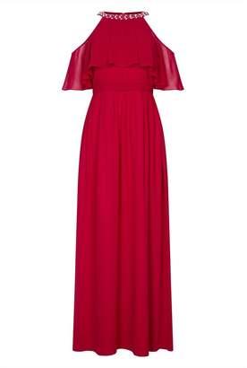Quiz Berry Chiffon High Neck Maxi Dress