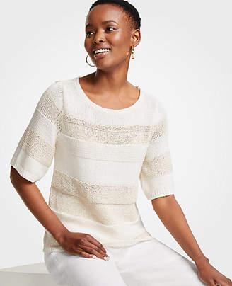 Ann Taylor Mixed Stitch Short Sleeve Sweater