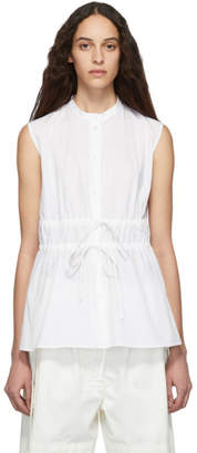 Jil Sander Navy White Double Tie Front Shirt