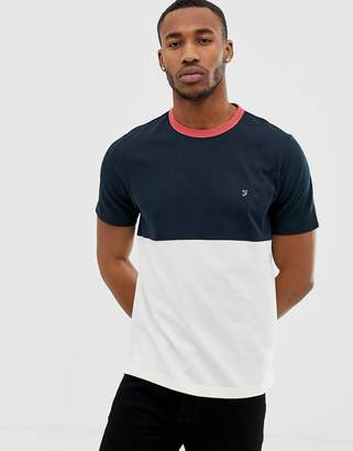 Farah Ewood color panel t-shirt in navy
