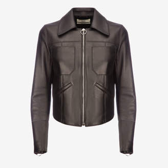 Bally Leather Fitted Trucker Jacket Black, Women's shiny lamb nappa leather jacket in black