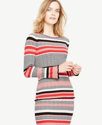 Ann Taylor Petite Striped Ruffle Cuff Sweater