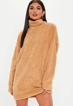 Missguided Camel Teddy High Neck Sweatshirt Dress