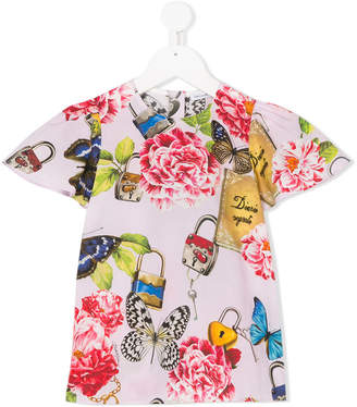 Dolce & Gabbana gathered sleeves floral blouse