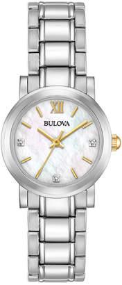 Bulova Women's Diamond Accent Stainless Steel Bracelet Watch 26mm 98P164 $250 thestylecure.com