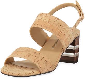 Neiman Marcus Leyda Mid-Heel Cork Sandals