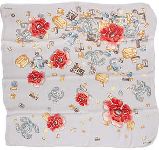 One Kings Lane Vintage Chanel Silk Chiffon Floral Scarf - Vintage Lux