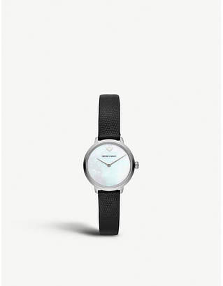 Emporio Armani AR11159 stainless steel and leather watch