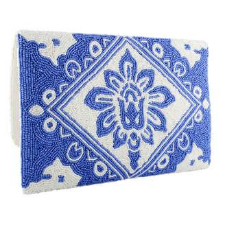 Tiana Designs Tiana Large Blue & White Clutch