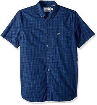 Lacoste Men's Short Sleeve REG FIT Gingham POPLIN Button Down