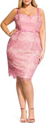 City Chic Jolie Scallop Lace Sheath Dress