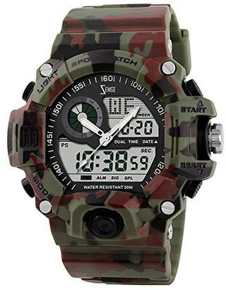 5f3985b96 at Amazon.co.uk · ZEMGE Mens Watch Analogue Digital 50M Waterproof Military  Sport Big Face Dual Dial Business Casual Multifunction