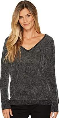 NYDJ Women's Lurex Double V-Neck Sweater