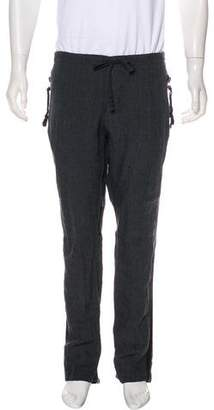Greg Lauren Linen-Blend Patchwork Zip-Accented Pants