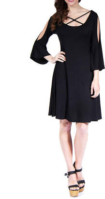 24/7 Comfort Apparel Split Sleeve Fit & Flare Dress