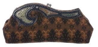 Miu Miu Snakeskin-Trimmed Knit Clutch
