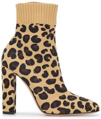 Gianvito Rossi Leopard Print Sauvage 110 sock boots