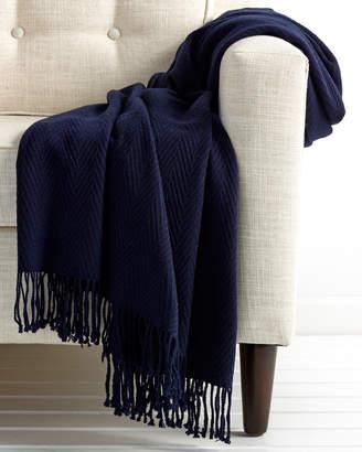 A & R Cashmere AR Cashmere Cashmere & Wool Blend Chevron Throw