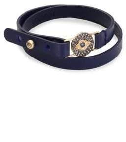 Sydney Evan Evil Eye Medallion Diamond, Blue Sapphire& Leather Choker