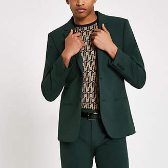 River Island Dark green super skinny suit jacket