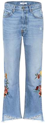 GRLFRND Helena embroidered cropped jeans