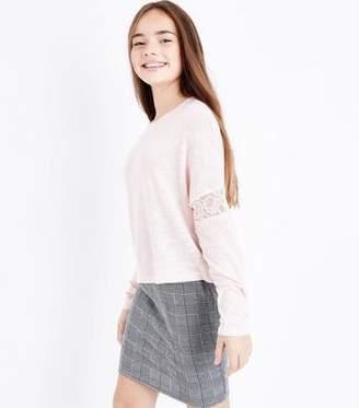 New Look Teens Khaki Lace Trim Long Sleeve Top