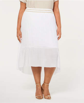 JM Collection Plus Size Lined Gauze High-Low Skirt