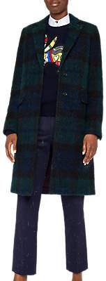 Checked Boucle Coat, Navy