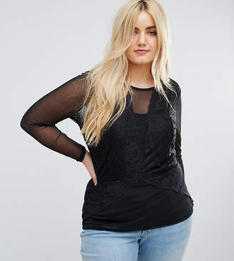 Junarose Lace Insert Woven Top With Mesh Sleeve