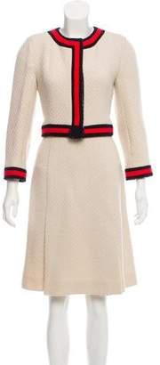 Chanel Wool Contrast-Trimmed Skirt Suit