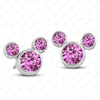 Gemstar Jewellery Brilliant Round Cut Pink Sapphire 18K Gold Finish Disney Mickey Mouse Earrings