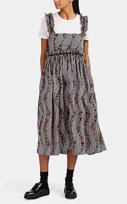 c1148984d0c4 Lula BROGGER Women's Ruffle-Trimmed Gingham Babydoll Dress - Black