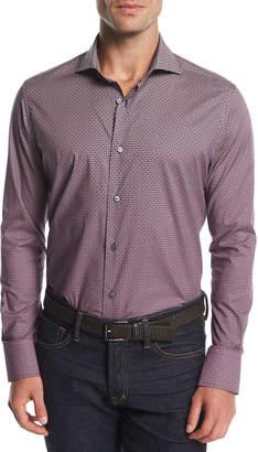 Neiman Marcus Geo-Print Cotton Shirt