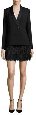 BCBGMAXAZRIA Delphina Ostrich Feather Jacket Dress $498 thestylecure.com
