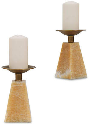 Port 68 Set of 2 Cairo Marble Candleholders - Natural/Aged Brass