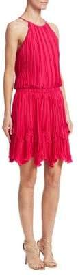 Halston Pleated Flounce Dress