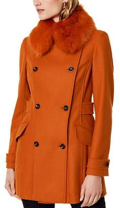 Karen Millen Faux Fur-Collar Peacoat
