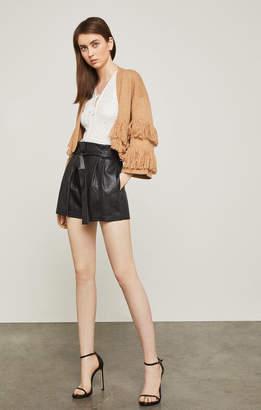 BCBGMAXAZRIA Faux Leather Paperbag Waist Short