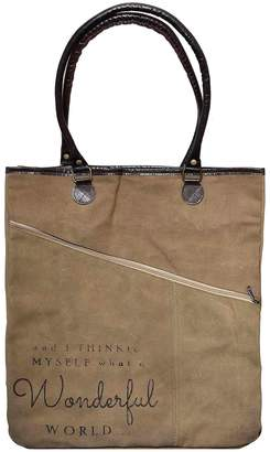 Vintage Addiction Leather Trim It's A Wonderful World Asymmetric Zipper Tote Bag