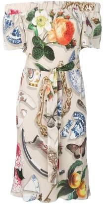 Moschino mixed-print midi dress