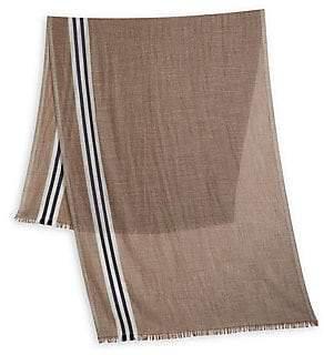Brunello Cucinelli Men's Stripe-Trim Cashmere & Silk Scarf