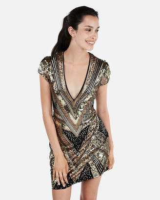 Express Sequin Cap Sleeve Deep V-Neck Mini Dress