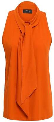 Theory Pussy-bow Stretch-silk Crepe Top