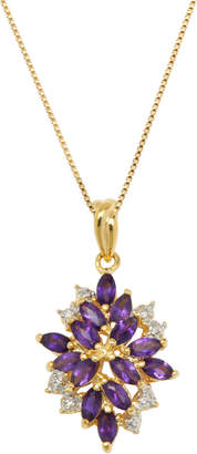 Multi-Gemstone (1-3/8 ct. t.w.) Pendant Set in 18k Yellow Gold Over Sterling Silver